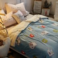 卡通羊羔绒法兰绒毛毯被子加厚保暖珊瑚绒毯子冬季单人学生午睡毯 200x230cm 双人毯