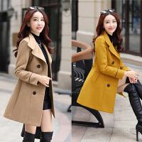 2017秋冬新款女式毛呢外套韩版修身大码女装双排扣中长款显瘦上衣