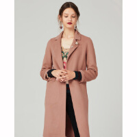 红袖女装纯色一粒扣中长款翻领大衣