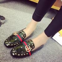 新款单鞋春季女鞋 平跟平底铆钉豆豆鞋懒人鞋 社会学生韩版潮