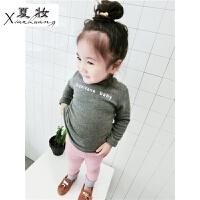 夏妆女童加绒打底衫新款韩版儿童宝宝加厚长袖T恤保暖衣高领上衣1-3岁