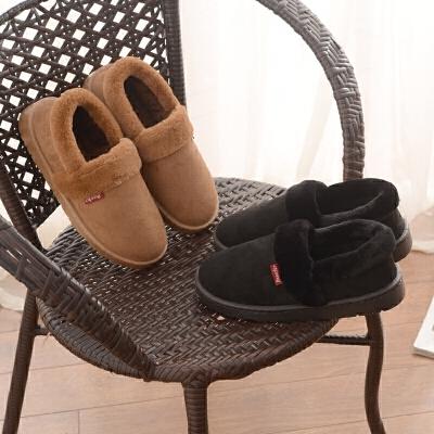 冬季皮质棉拖鞋包跟女家居家室内外情侣保暖防滑防水实心加厚底男