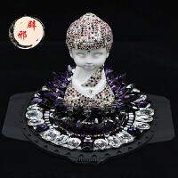 创意汽车内饰用品 陶瓷水晶镶钻汽车摆件佛车载香水座弥勒佛
