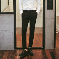 春季黑色男士休闲裤男裤子男生西裤韩版修身小脚裤潮流百搭长裤