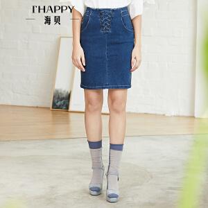 海贝2018夏装新款女半身裙 高腰绑带修身开衩蓝色牛仔包臀裙中裙