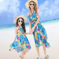 2018母女装沙滩裙海边度假长裙波西米亚亲子装夏背心连衣裙夏季