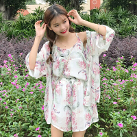 韩版时尚休闲套装春夏女装气质碎花打底吊带衫上衣+短裤+开衫外套