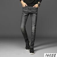 新款黑色复古宽松裤青少年男士潮牌小脚直筒牛仔长裤子秋冬季