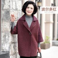 妈妈装春装毛呢外套中老年女装春秋季呢子大衣短款韩版中年人服装