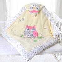 婴儿抱被新生儿包被保暖抱毯宝宝秋冬款加厚被子初生可脱胆用品 猫头鹰可脱胆黄