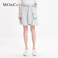 MOCO2019春季新品纯棉解构绑带牛仔半身裙MAI1SKT021 摩安珂