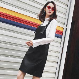七格格高腰PU皮短裙2017秋季新款百搭黑色A字减龄学院风女潮背带连衣裙