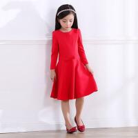 亲子装女童童装长袖中长修身裙子2016秋冬装裙母女装打底连衣裙 红色