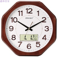 挂钟客厅欧式实木钟表八角静音时钟现代简约挂表卧室钟创意石英钟 实木系列 0612液晶Z字块款 16英寸(直径40.5厘