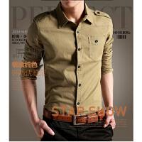 秋装新款男装方领衬衫修身长袖军装韩版青年男士纯色休闲工装衬衣