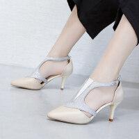新款尖头扣带中空罗马鞋女 韩版性感包头凉鞋高跟鞋子女 欧洲站凉鞋女细跟