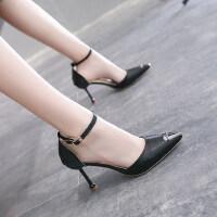 户外法式少女高跟鞋凉鞋8CM细跟时尚尖头单鞋仙女风