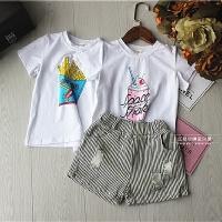 女童上衣夏季新款中小童宝宝个性薯条冰淇淋打底衫印花T恤潮