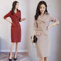 连衣裙女秋冬新款时尚韩版修身显瘦风衣裙女装中长款包臀裙潮