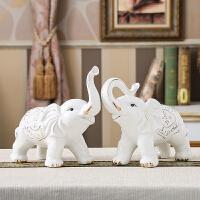 陶瓷大象摆件风水一对客厅家居装饰品欧式吉祥礼物象摆设