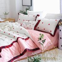 粉色公主风四件套棉棉1.8m圆点刺绣蝴蝶结淑女风床上用品