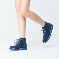 伊贝拉(YI-BELLA)秋季新品短筒女靴真皮磨砂皮圆头低跟防水台女靴系带学生短靴