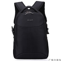 双肩包男士背包休闲商务旅行15寸电脑包韩版潮流高中学生书包大学生男 黑色