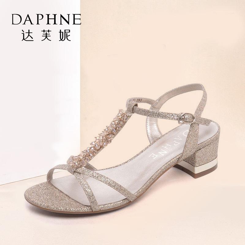Daphne/达芙妮夏季凉鞋格利特水钻串珠亮面凉鞋