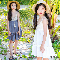 儿童沙滩裙海边度假女童棉麻吊带连衣裙中大童背心裙白色公主裙夏