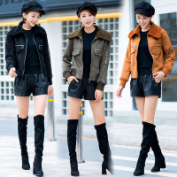 皮毛一体羊羔毛外套女新款鹿皮绒短款显瘦棉衣秋冬季加厚夹克