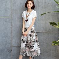 棉麻连衣裙2018春夏季女装新款套装裙两件套亚麻印花复古中长裙子