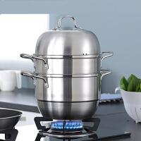 林格豪不锈钢三层家用加厚复底汤锅电气通用三层锅具