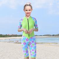 男儿童连体泳衣防晒潜水学生少女中大童泳衣宝宝游泳衣女儿童泳衣 绿色 花 女童