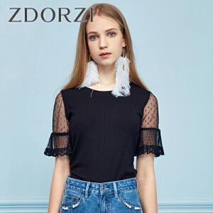 卓多姿2018夏装新款蕾丝拼接短袖纯色上衣女736E275