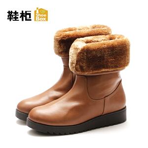 达芙妮集团/鞋柜秋冬款短靴女圆头加绒保暖舒适女短靴-1