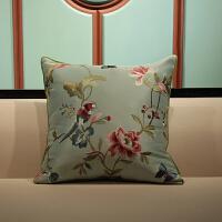 中式沙发刺绣花抱枕沙发中国风靠垫欧式床头大靠枕套 60X60cm (抱枕+内芯)