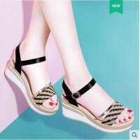 古奇天伦新款夏季女鞋韩版百搭厚底松糕鞋子坡跟凉鞋女夏一字扣高跟鞋GT08822