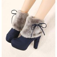 韩版秋冬新款超高跟短靴性感蝴蝶结毛毛雪地靴防水台粗跟女靴子