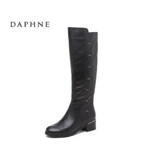 Daphne/达芙妮冬长筒厚女靴 舒适牛皮粗跟女鞋10 607084