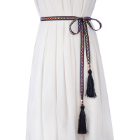 新品民族风打结女士细腰带 简约长款流苏腰绳 百搭配裙子装饰皮带