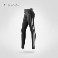瑜伽服女秋冬运动跑步高腰紧身显瘦网纱透气健身长裤T087 黑色