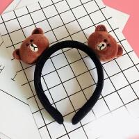可爱布朗熊可妮兔宽边发箍莎莉鸡萌甜美洗脸发带发夹发卡