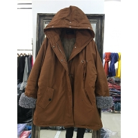 B1女中长款新款时尚冬季韩版卷边拼接羊羔绒棉衣外套1.25