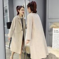 秋冬新款宽松显瘦加厚2018纯色优雅毛呢外套女中长款双面绒大衣