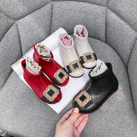 女童靴子女孩公主防滑�窝�和��R丁靴