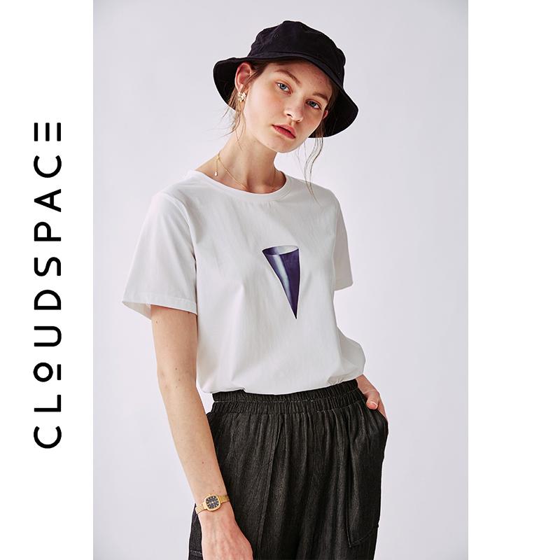 云上生活2019夏新款气质印花t恤短袖圆领T恤女T5717