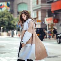 2017年冬季新款欧美风羊羔绒皮毛一体保暖时尚中长款风衣外套