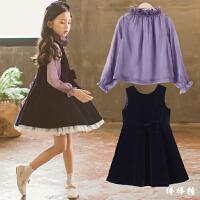 韩国童装2018新款韩版女童春装公主连衣裙中大儿童两件套洋气裙子