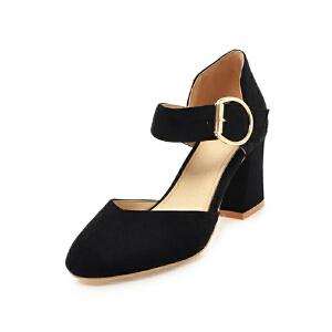 ELEISE美国艾蕾莎新品152-821韩版磨砂绒面高跟粗跟中空女士单鞋
