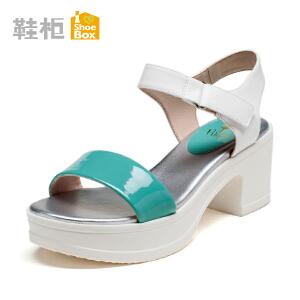 达芙妮旗下shoebox鞋柜新款拼色夏罗马方跟女凉鞋 高跟防水台女鞋